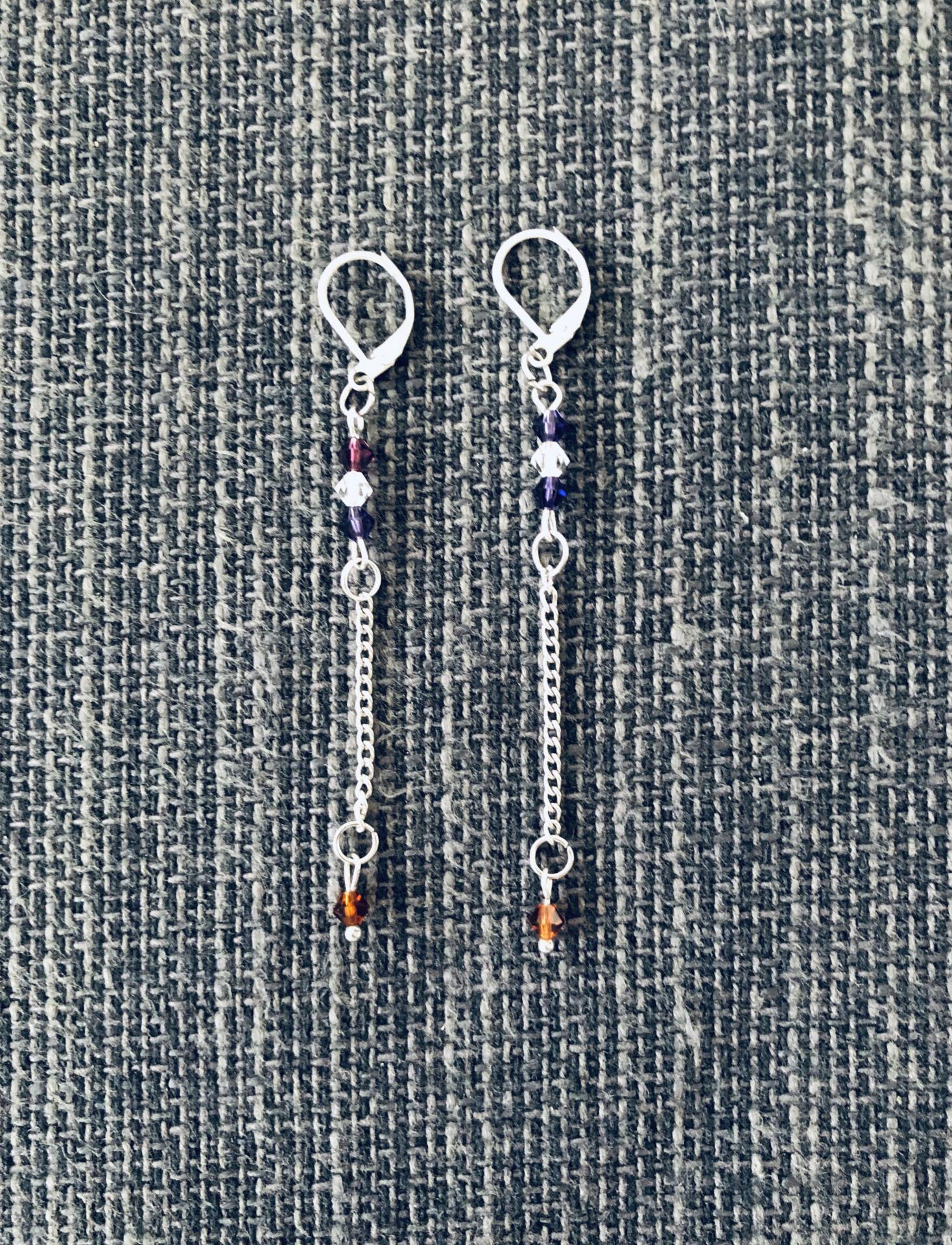 Pendientes acero y cristal Swarovski en color morado y cobre