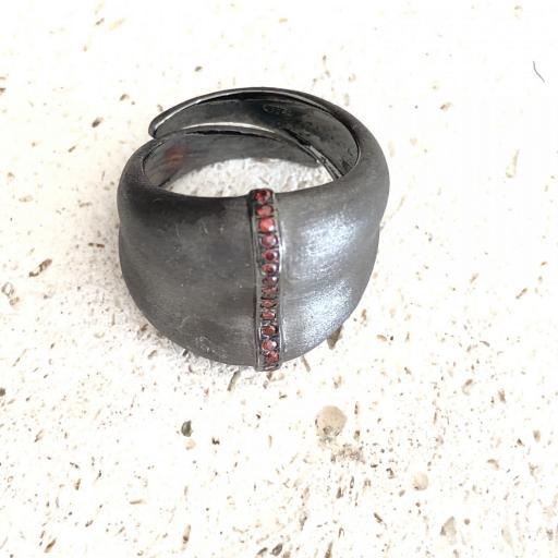 Anillo ajustable de plata , zirconitas y rodio gris [3]