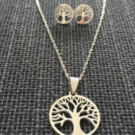 Conjunto colgante y pendientes árbol de la vida
