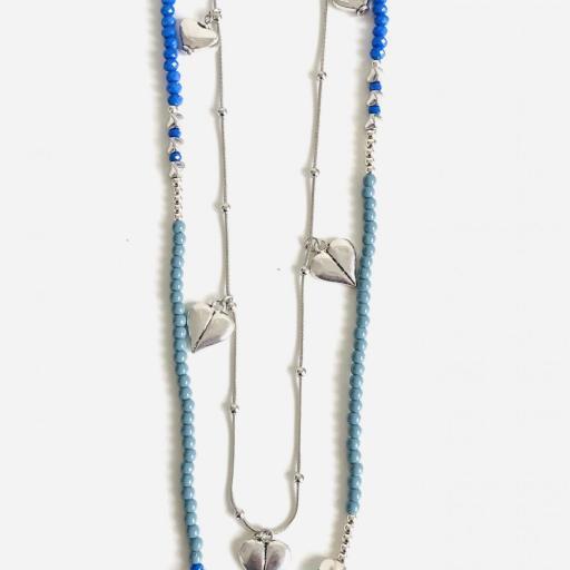 Collar fantasía azul  con corazones  y cadena  plateada [3]
