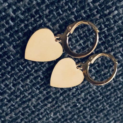Pendientes criolla con corazón dorado [2]