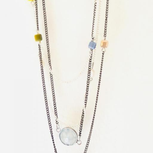 Collar fantasía cadenas con cristal opaco