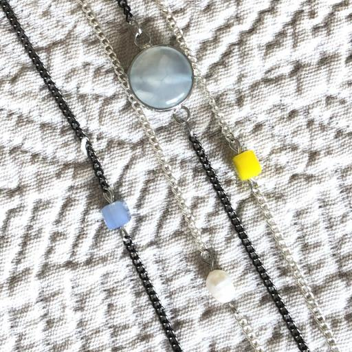 Collar fantasía cadenas con cristal opaco [2]