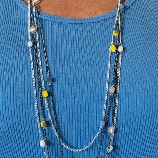 Collar fantasía cadenas con cristal opaco [1]