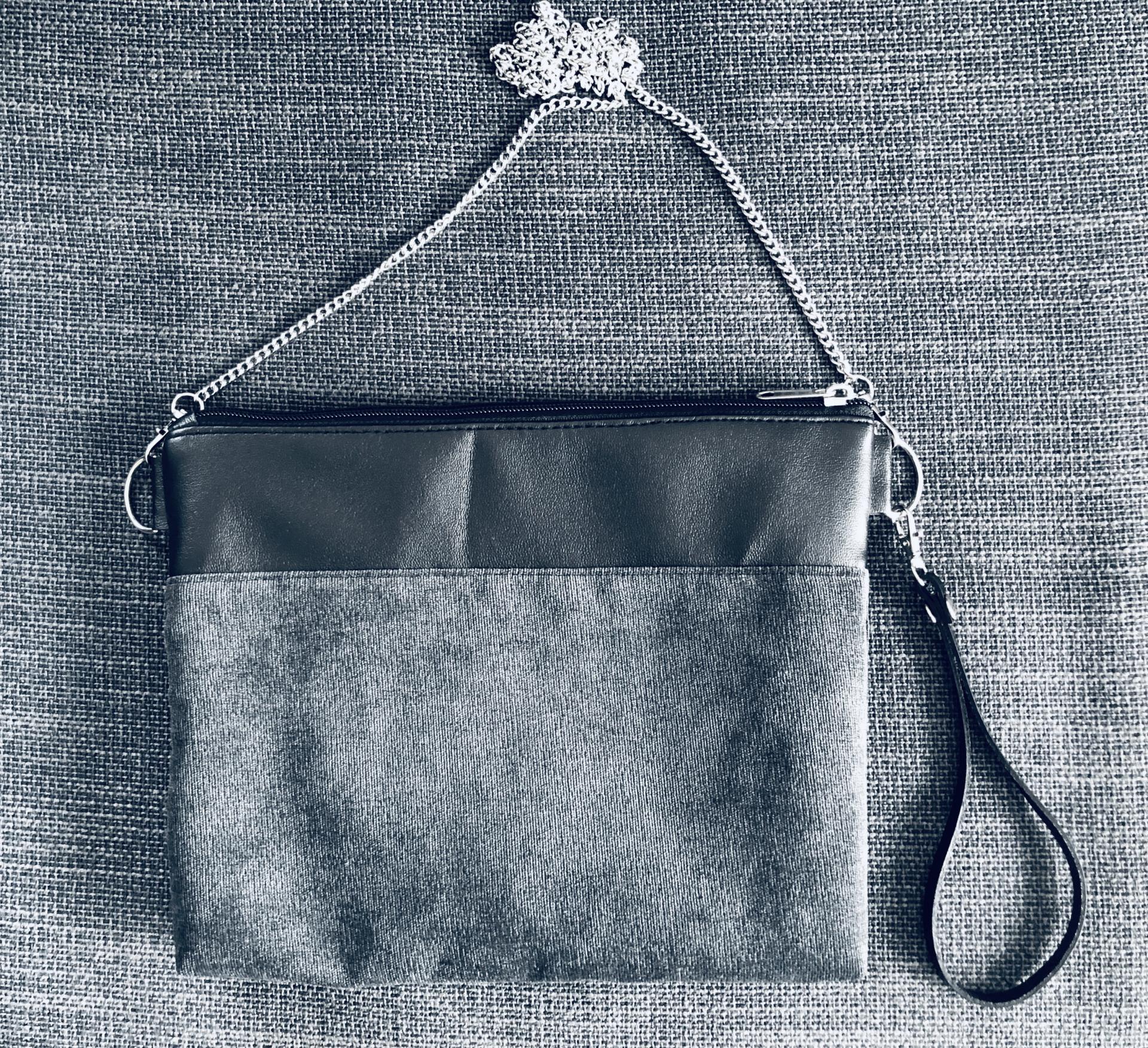 Bolso artesanal antimanchas color gris marengo