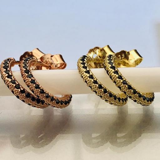 Aros criollas de plata con baño de oro y cristales Swarovski [2]