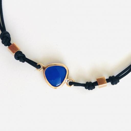"""Pulsera colección """"Kriss"""" de hilo con cristal color azul [1]"""