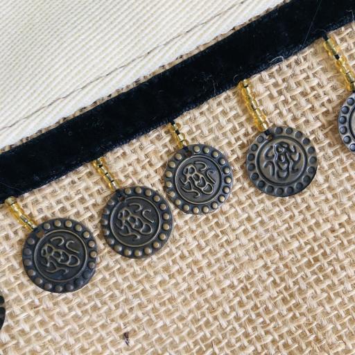 Bolso en tela de saco, tela color crema y monedas [2]