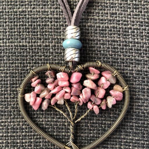 Colgante corazón con árbol de la vida color rosa