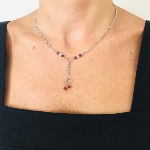 Conjunto de pendientes y collar con cristales Swarovski morados y cobrizos [3]