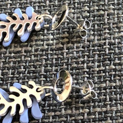 Pendientes con forma de coral en color azul y plateado [1]
