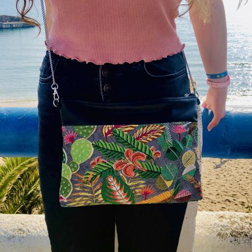 Bolso de mano o bandolera tropical verde con tucán [3]