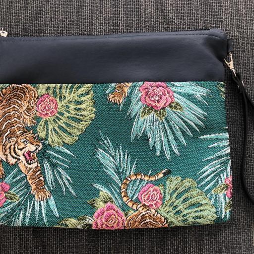 Bolso de mano o bandolera tropical verde con tigres y rosas [1]