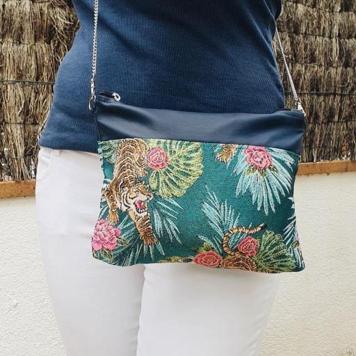 Bolso de mano o bandolera tropical verde con tigres y rosas [3]