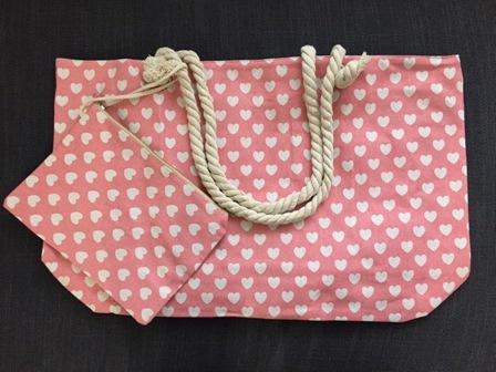 Bolsa  de corazones  color rosa