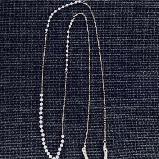Cadena gafas de acero dorado, bolitas de strass color rosa y perlas blancas [3]