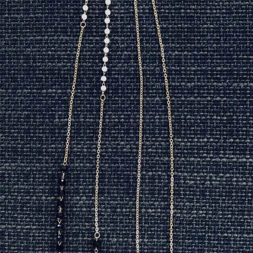 Cadena gafas de acero dorado, bolitas de strass color negro y perlas blancas [3]