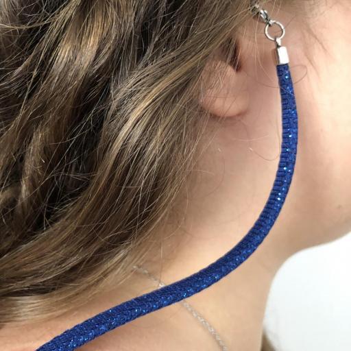 Cordón  plano en color azul con brillo plateado para colgar gafas [2]