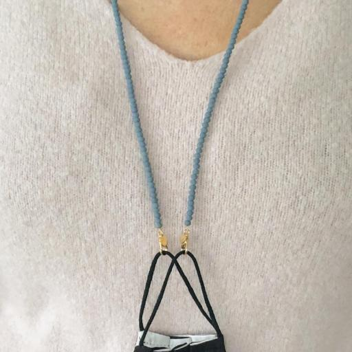 Cuelga mascarillas o gafas de cristal facetado azul mate [1]