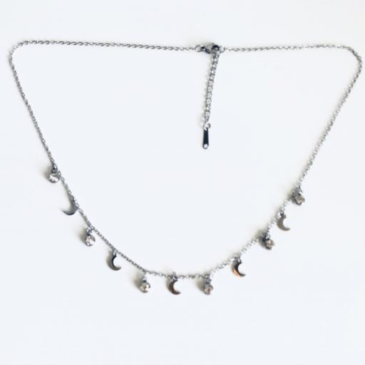 Collar de cadena con cristales y lunas  [3]