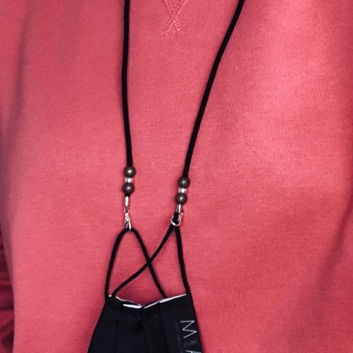 Cordón cuelga mascarillas / gafas en color gris negro con bolas [2]
