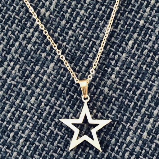 Conjunto  pendientes y colgante estrella dorada de acero [2]