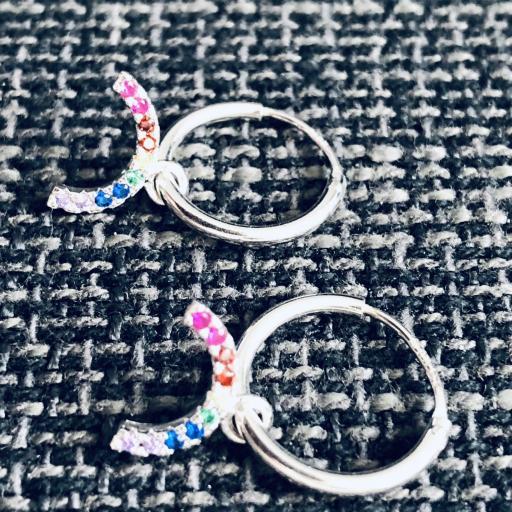 Aros con arcoiris colgante de circonitas de colores [3]
