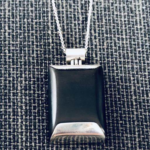 Colgante rectangular macizo de plata 925 y madera  [1]