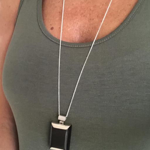 Colgante rectangular macizo de plata 925 y madera  [3]
