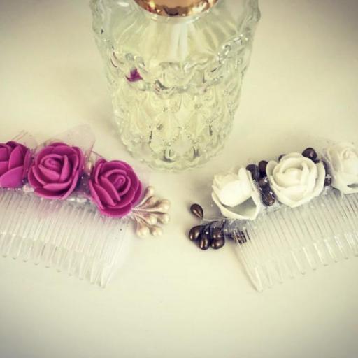 Peineta con flores color rosa [3]