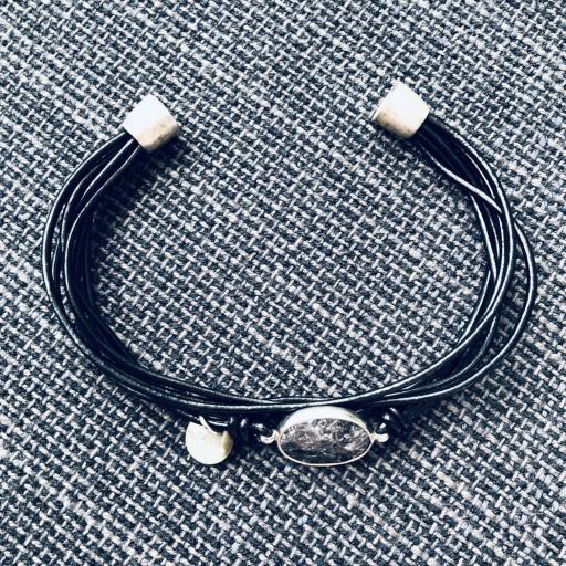 Pulsera hilos negros con piedra gris y negra [3]