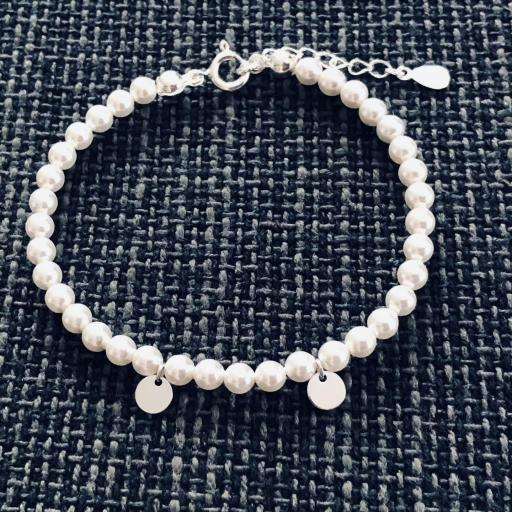 Pulsera de plata y perlas Swarovski