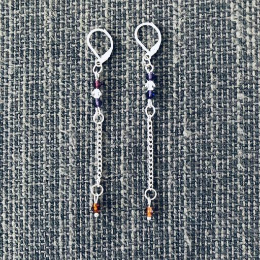 Conjunto de pendientes y collar con cristales Swarovski morados y cobrizos [1]