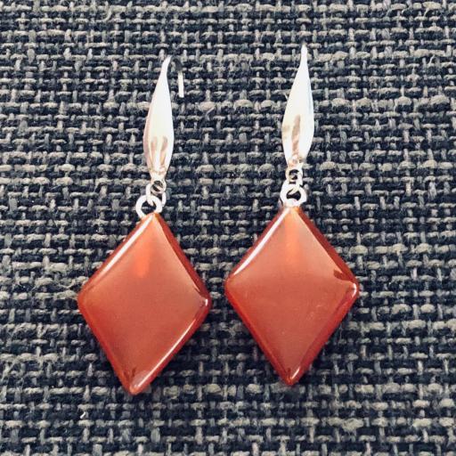 Pendientes de resina color coral y acero