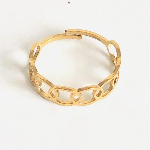 Anillo abierto acero dorado con elipses caladas [1]