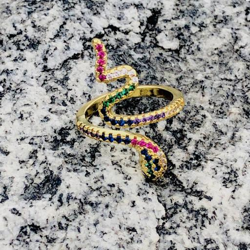 Anillo serpiente dorado con cristales  de colores [3]