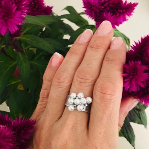 Anillo  ajustable con perlas de cristal [3]