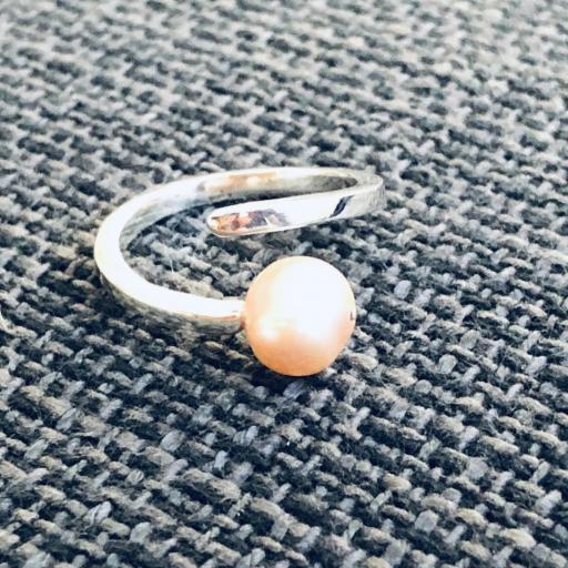 Anillo de plata y perla natural anaranjada [2]