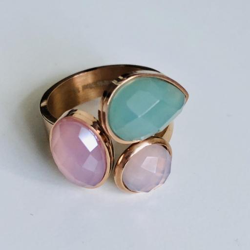 Anillo de acero rosado con cristales Strass en color verde y rosa [2]