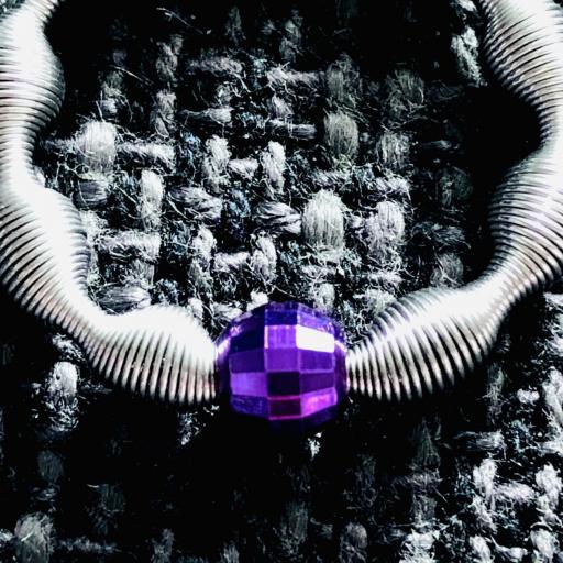 Anillo eláastico con bola de plata color lila [2]