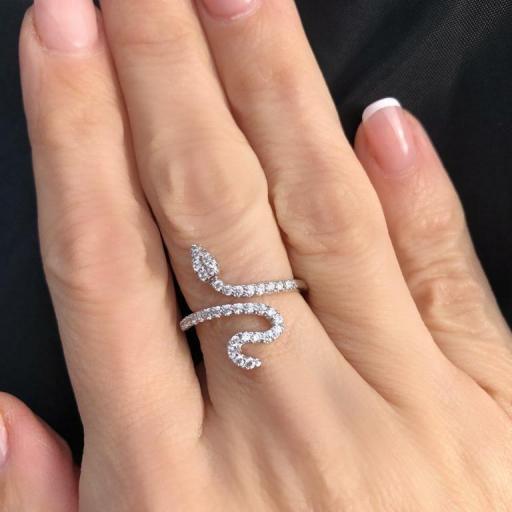 """Anillo """"serpiente""""con cristales tallados [3]"""