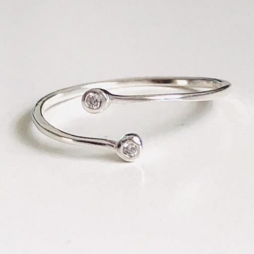 Anillo abierto de plata  con cristales [2]