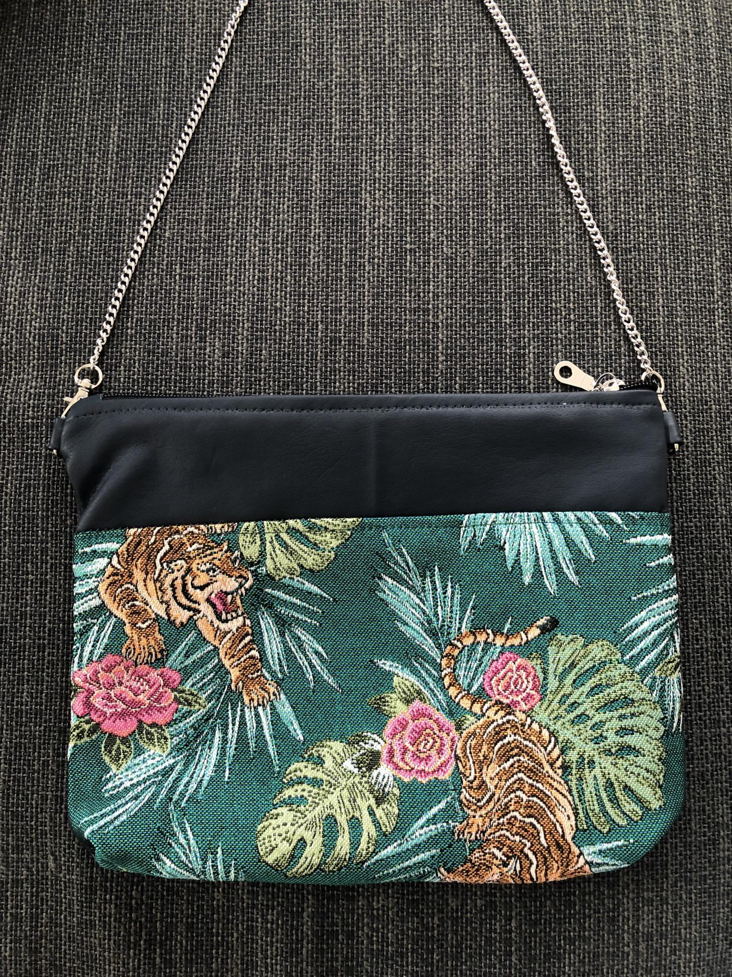 Bolso de mano o bandolera tropical verde con tigres y rosas