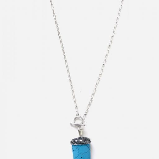 Colgante cuerno  de turquesa natural y cristales [3]