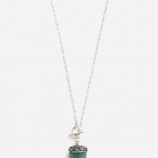 Colgante cuerno  de cuarzo verde natural  y cristales [3]