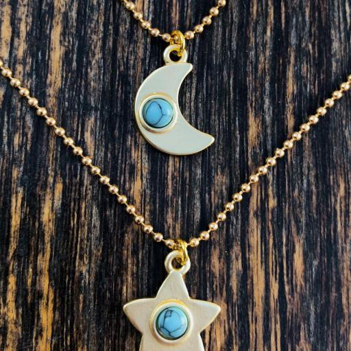 Colgante  estrella dorada con turquesa [2]