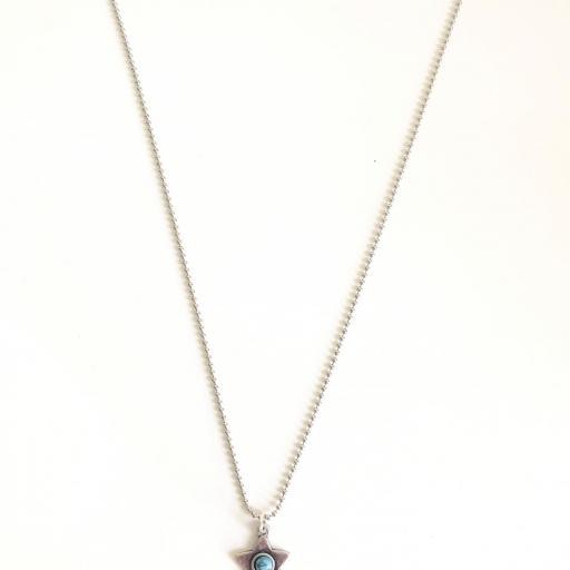 Colgante estrella color plata con turquesa [3]