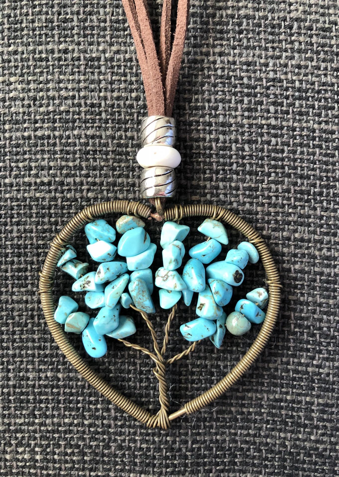 Colgante corazón con árbol de la vida color turquesa
