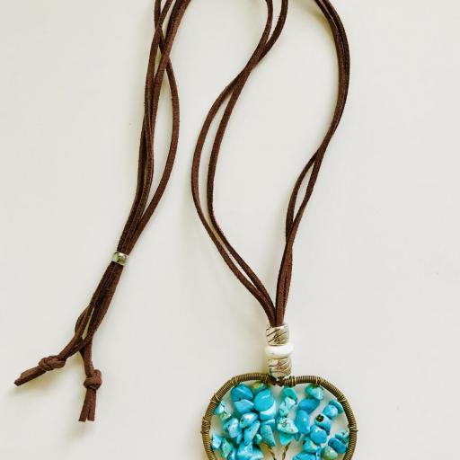 Colgante corazón con árbol de la vida color turquesa [2]