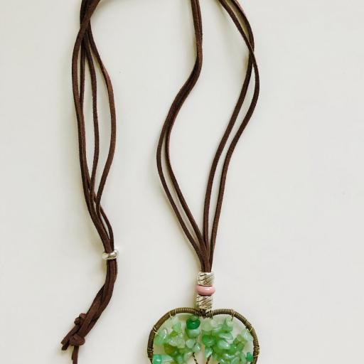 Colgante corazón con árbol de la vida color verde [3]